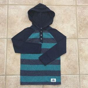 Shaun White Boys Striped Henley Hooded Tee Shirt